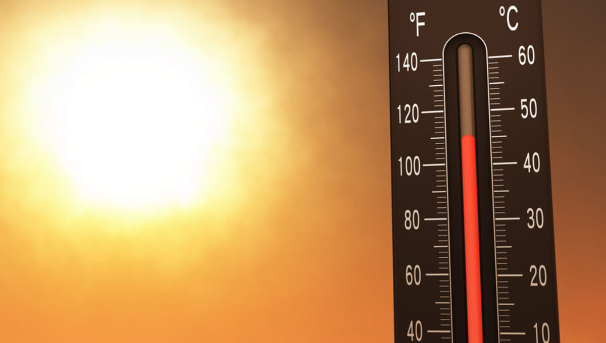 Thermometer on a hot day