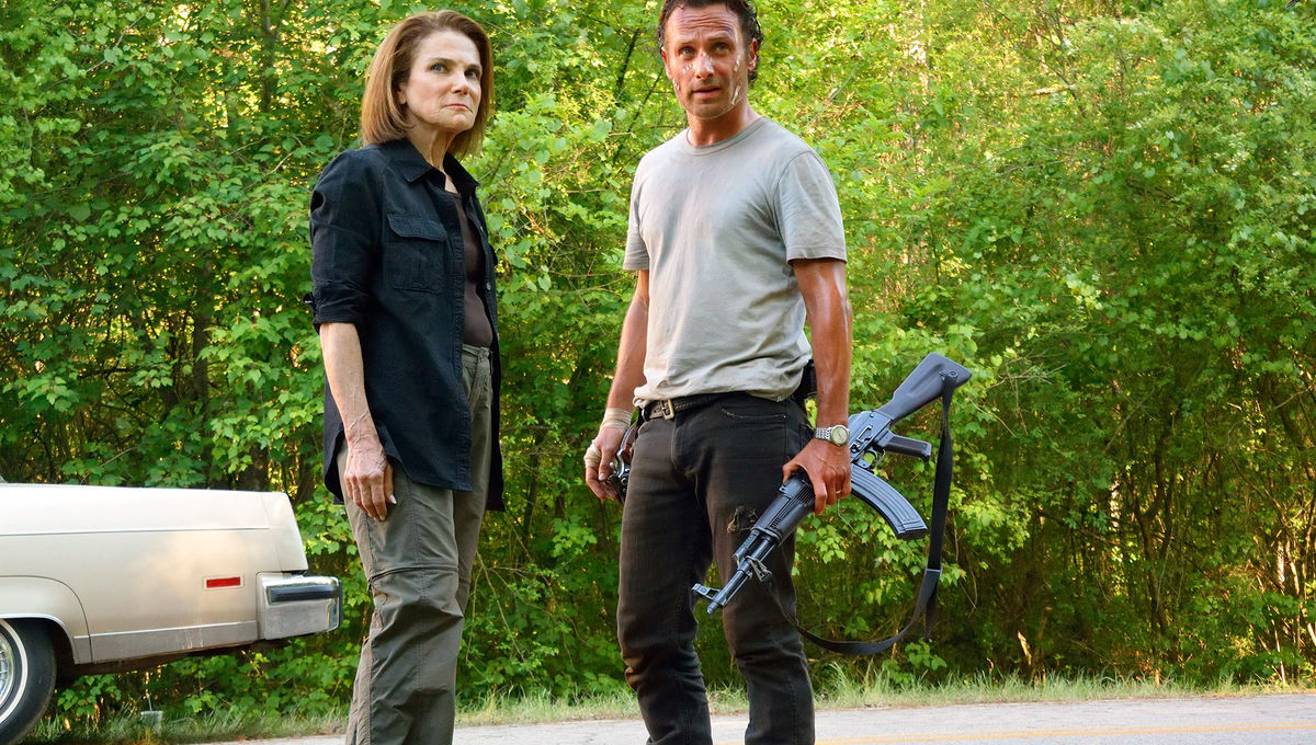 Andrew Lincoln on guard in The Walking Dead