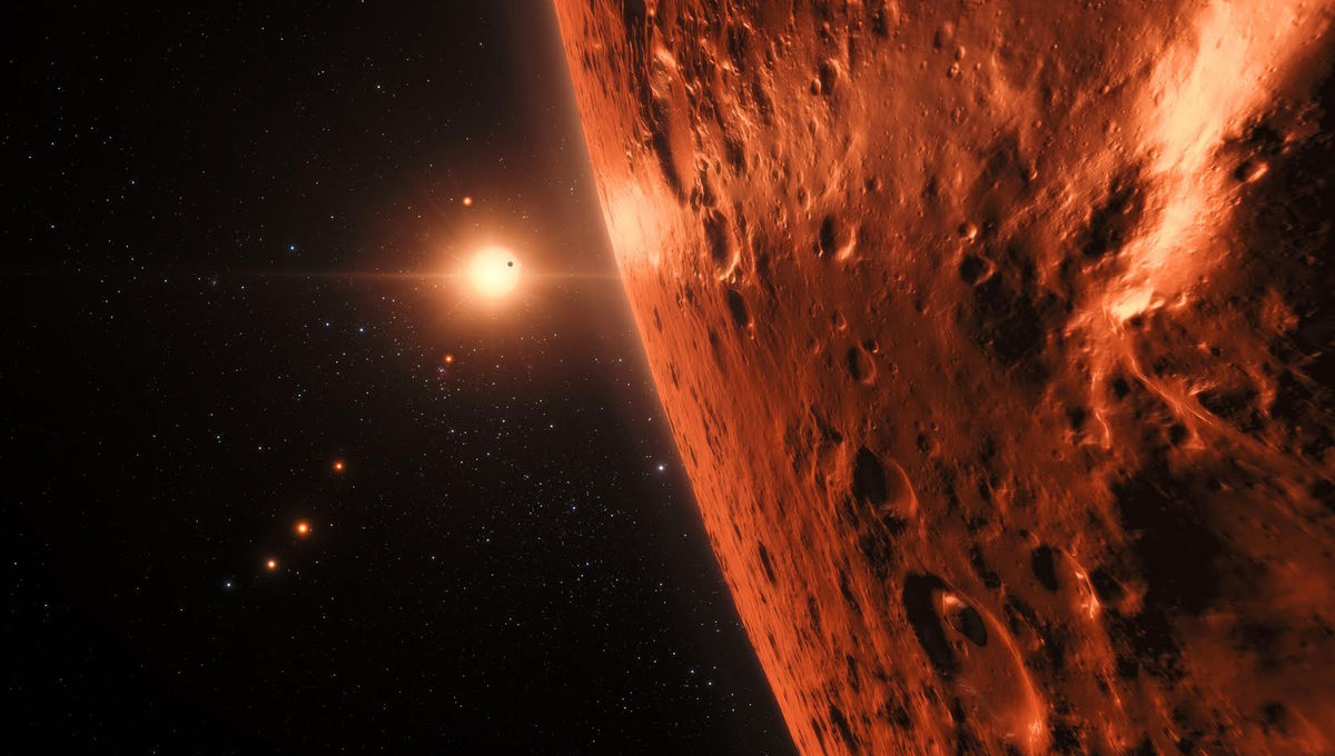 Artwork of planets orbiting TRAPPIST-1