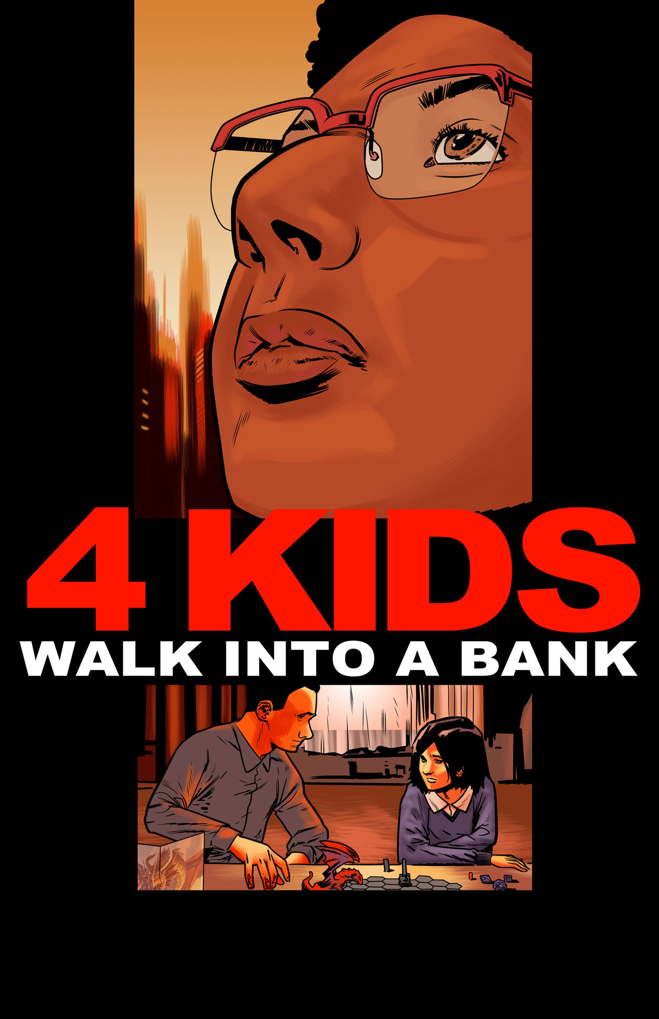 The hit indie comic 4 Kids Walk Into A Bank pays homage to