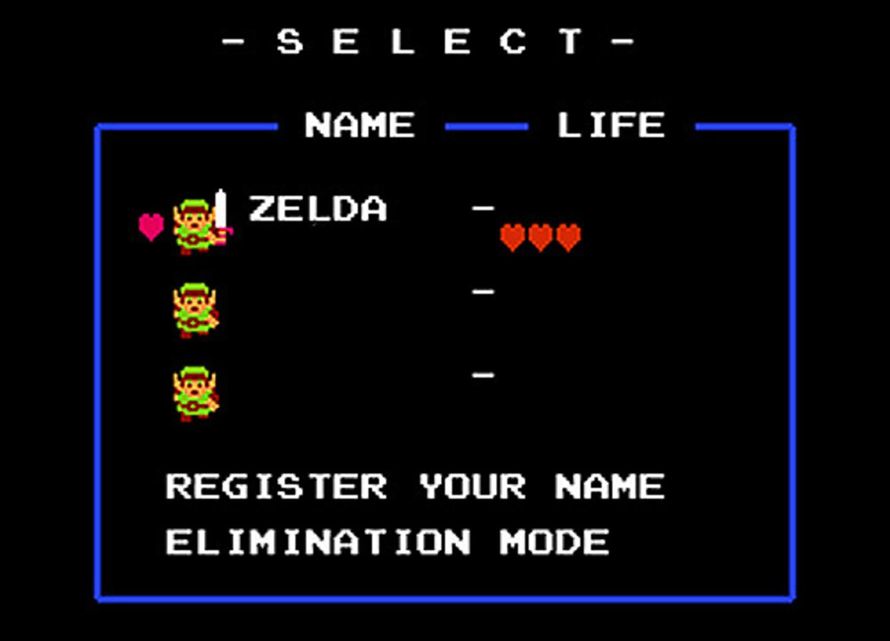 The Legend of Zelda - Name Registration