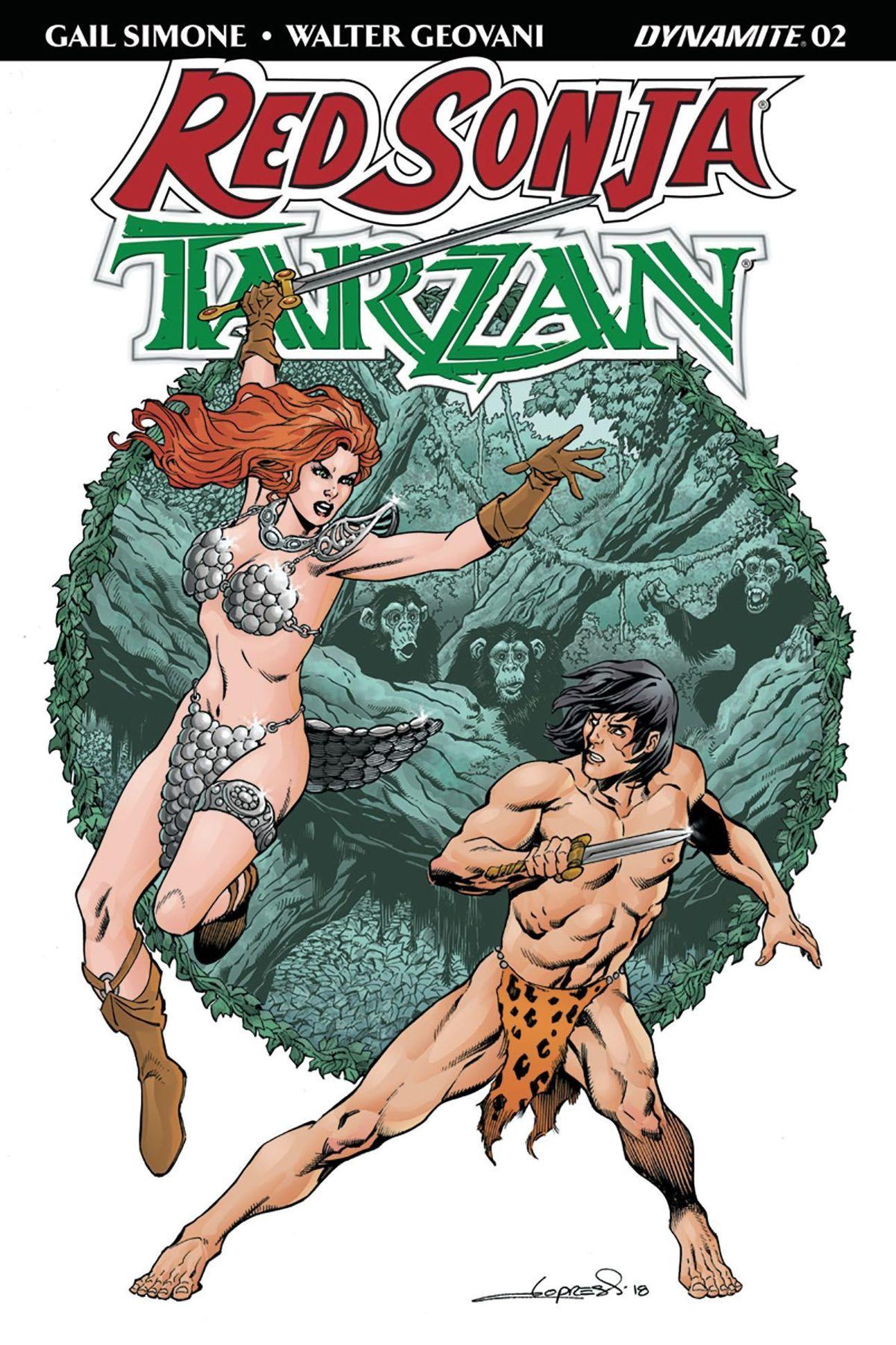 Red Sonja Tarzan 2 cover by Aaron Lopresti