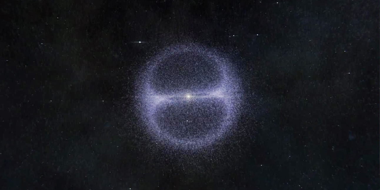 An artist's rendering of what the Oort cloud could look like if it exists.