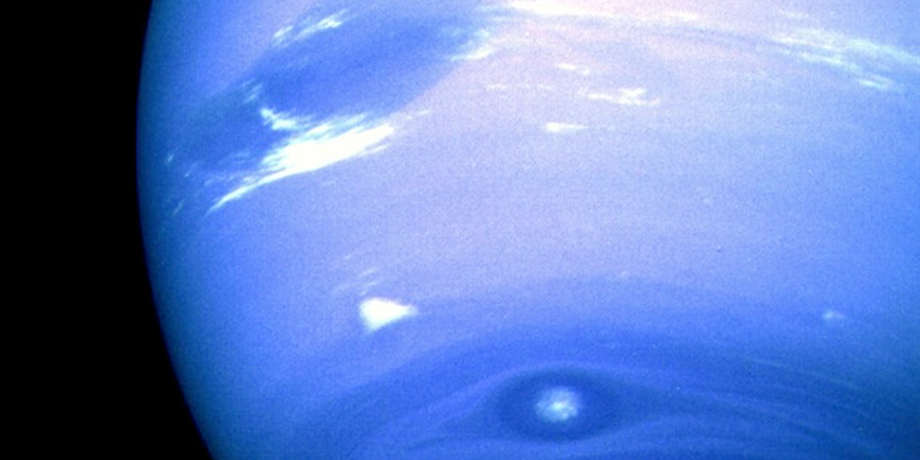Artist's rendering of Neptune. Glowing clouds surround its Great Dark Spot.
