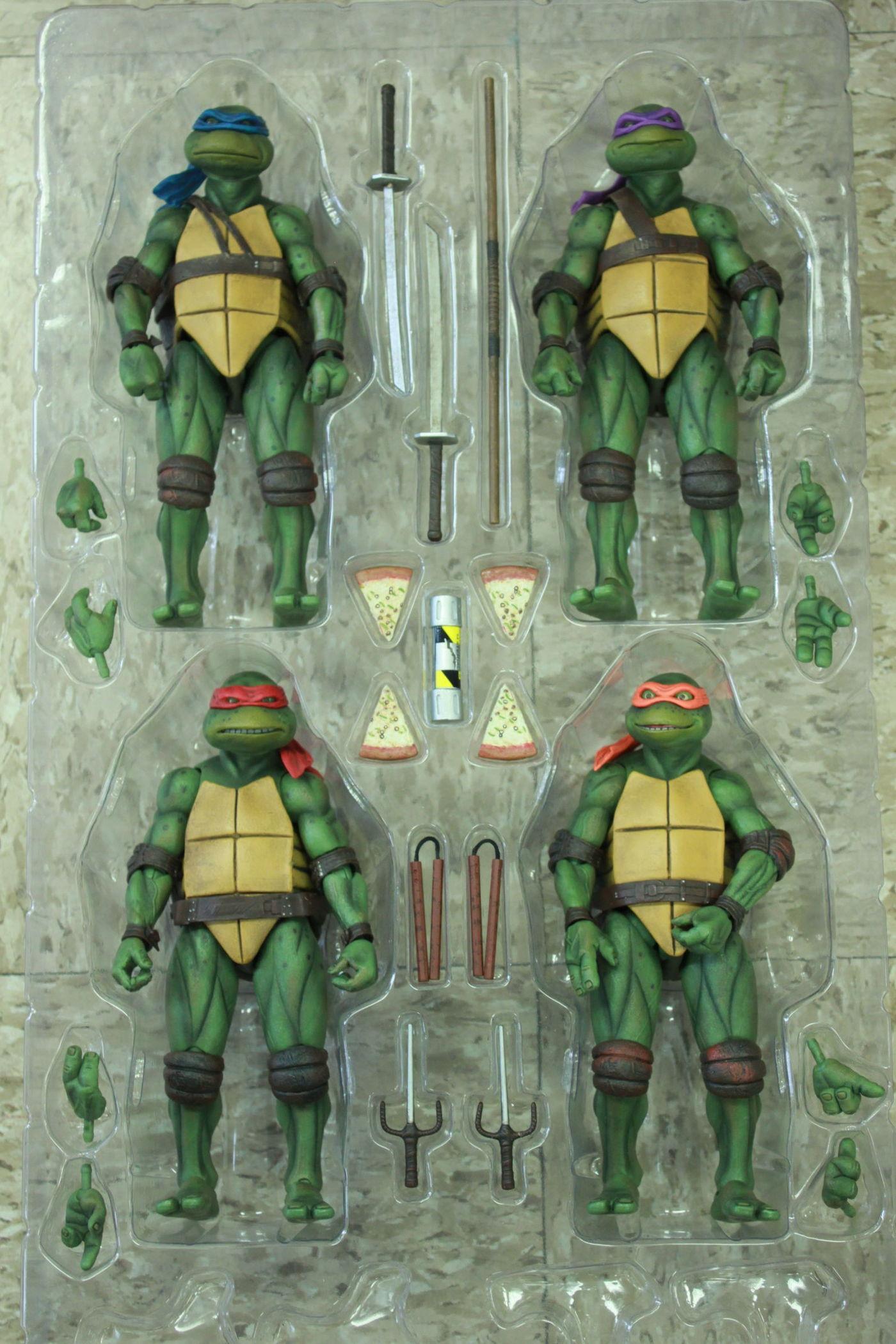 """SET 4 NECA Ninja Turtles 1990 Movie GameStop Exclusive 7/"""" TMNT Figures IN HAND"""