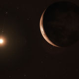 Artwork of a super-Earth, Barnard's Star b, orbiting its red dwarf host star. Credit: ESO/M. Kornmesser