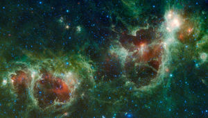Infrared mosaic from NASA of the Heart and Soul nebula (aka IC 1805 and IC 1848)