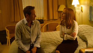 "X-Files episode 1103 - ""Plus One"" - Mulder and Scully on a bed"