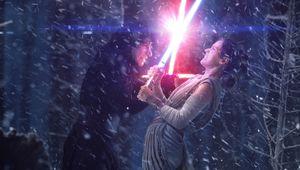 Star Wars, Reylo, Kylo Ren and Rey lightsaber battle