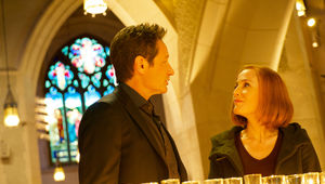 The X-Files episode 1109 Nothing Lasts Forever - Mulder and Scully in a church