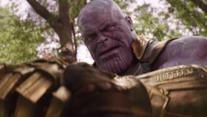 Avengers: Infinity War- Thanos tries to crush Steve Rogers with gauntlet