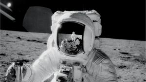 NASA image of astronaut on the moon