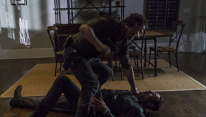 The Walking Dead episode 808 - Rick and Negan in a fight