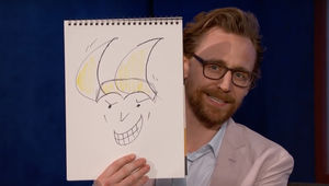 Tom Hiddleston with his Loki self portrait (Jimmy Kimmel Live)