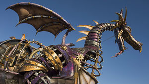 Maleficent the dragon float in Disney World parade