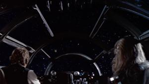 Han Solo and Chewbacca on the Millennium Falcon