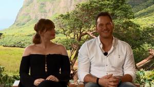 Jurassic World Fallen Kingdom Chris Pratt Bryce Dallas Howard Interview SYFY WIRE Screengrab