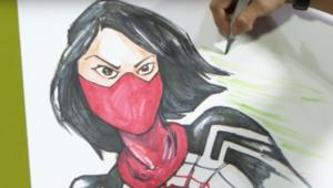 Tana Ford drawing Silk aka Cindy Moon at C2E2