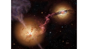 A small galaxy with a huge black hole in the middle survived an encounter with a much bigger galaxy, but only after being stripped of nearly all its material. David A. Hardy/UK ATC