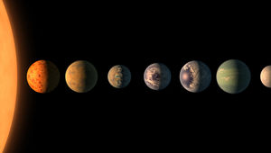 Artwork showing the scale of the size of the planets and the star of the TRAPPIST-1 system. The orbital distance are not to scale, and surface features are imagined. Credit: NASA/JPL-Caltech