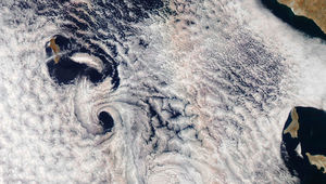 Guadalupe Islands spawns vortices downwind as weird effects stretch a glory out into a pair of parallel lines. Credit: NASA Earth Observatory image by Joshua Stevens, using MODIS data fromLANCE/EOSDIS Rapid Response