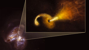 Artwork depicting a star torn apart by a black hole in Arp 299, with a beam of material blasting away. Credit: Sophia Dagnello, NRAO/AUI/NSF; NASA, STScI