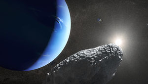 Artwork depicting Neptune and its small moon Hippocamp. Credit: NASA, ESA, and J. Olmsted (STScI)