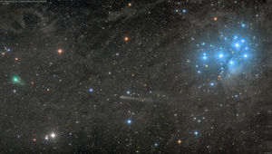 Two comets, stars, the Pleiades, and a lot of galactic dust bunnies. Credit: Damian Peach
