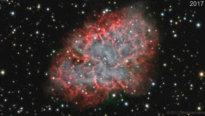 One frame from the ten-year animation of the Crab Nebula showing its expansion. Credit: Detlef Hartmann