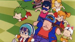 Arale and several minor Dr. Slump characters, such as Dr. Slump, run around on a strange checkerboard purgatory