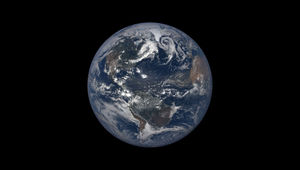 The Earth as seen by the climate satellite DSCOVR on July 6, 2018 at 16:21 UTC — very close to aphelion. Credit: NASA EPIC team