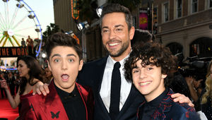 Asher Angel, Zachary Levi, and Jack Dylan Grazer on the Shazam! red carpet