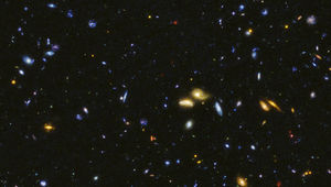 A deep Hubble image in ultraviolet, visible, and infrared light shows thousands of galaxies in the early Universe. This is the northern field of the HDUV survey.