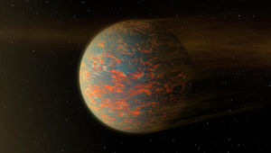 Artwork of a hot super-Earth getting is atmosphere blasted away by its nearby star. Credit: NASA/JPL-Caltech