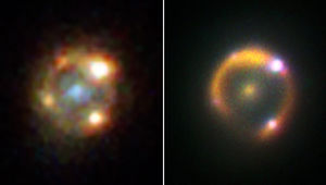 The giant Keck telescope got a similar view of the lensed supernova iPTFgeu in the infrared (right) versus Hubble (left). Credit: NASA/ESA/Hubble & W. M. Keck Observatory