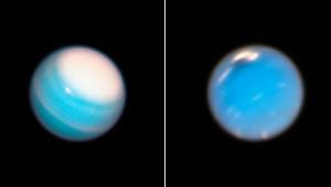 Uranus (left) and Neptune (right) seen by Hubble in late 2018. Both are monitored every year or so for atmospheric features.