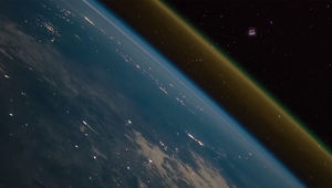 View from a height: A Progress resupply ship on its way to the International Space Station can be seen to the upper right of Earth as aSoyuz rocket boosts it to orbit on Nov. 16, 2018... asseen from ISS itself! Credit: ESA/NASA/Alexander Gerst/Riccardo R