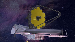 Artwork showing JWST after full deployment 1.5 million km from Earth. Credit: Northrup Grumman