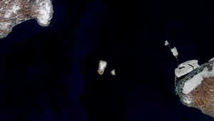 Landsat 8 image of the Diomedes islands from space. On the right is Alaska, and the left Russia. Credit: NASA Earth Observatory images by Joshua Stevens, using Landsat data from the U.S. Geological Survey
