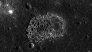 The strange formation Ina on the Moon, which sits in a smooth lava flood plain called Lacus Felicitatis. Credit: NASA/GSFC/Arizona State University / Quickmap
