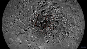 A map of the Moon's north pole showing areas where ice may lie. Credit: NASA/GSFC/Arizona State University