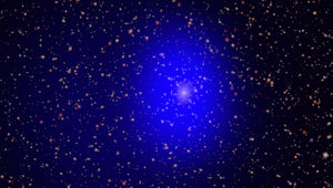 J0045 (seen in X-rays (blue) and optical light) in the outskirts of the Andromeda Galaxy. Credit: X-ray: NASA/CXC/Univ. of Washington/T.Dorn-Wallenstein et al.; Optical: NASA/ESA/J. Dalcanton, et al. & R. Gendler