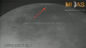 An impact from a small meteoroid lights up the moonscape. Credit: Moon Impacts Detection and Analysis System (MIDAS)/Jose Maria Madiedo