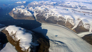 Greenland's Rink Glacier, one of the largest, is at risk due to global warming.