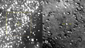 On August 16, 2018, the New Horizons spacecraft took an image of the star field where its target 2014 MU69 was predicted to be (left). On the right is the processed image showing the object. Credit: NASA/Johns Hopkins University Applied Physics Laboratory