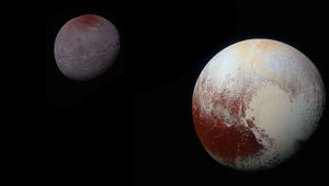 Pluto and Charon, to scale in size and brightness. Credit: NASA/Johns Hopkins University Applied Physics Laboratory/Southwest Research Institute