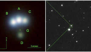 The four images (A-D) of the quadruply lensed quasar J014709+463037 can be seen in this deep image taken by the Pan-STARRS telescope. The lensing galaxy (G) is marked by an X. Credit: Berghea et al.