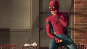 Spider-Man: Homecoming- Tom Holland as Spider-Man, mask half off
