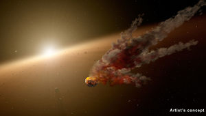 Artist's illustration of a planetesimal collision in a young star system. Credit: NASA/JPL-Caltech