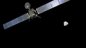 Artwork of Rosetta approaching the comet 67/P Curyumov-Gerasimenko. Credit: Spacecraft: ESA/ATG medialab; Comet image: ESA/Rosetta/NAVCAM